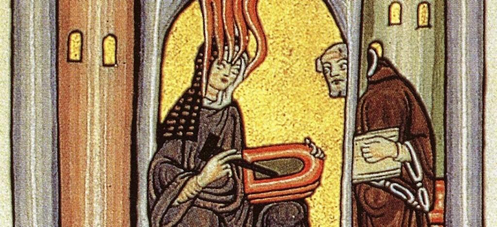 Hildegard von Bingen mit ihrem Sekretär Volmar